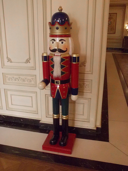 A nutcracker guards the lobby of the Westgate Hotel.