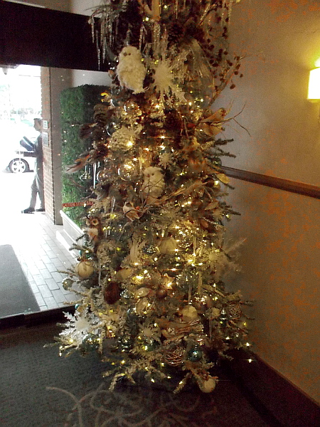 One of several elegant Christmas trees in the lobby of The Sofia Hotel.