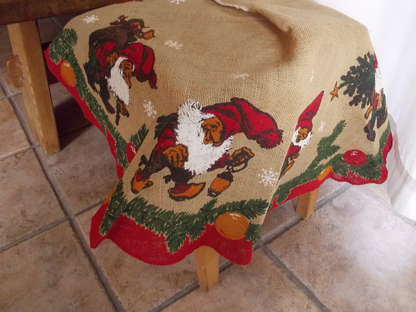 A folksy Christmas tablecloth at the House of Norway.
