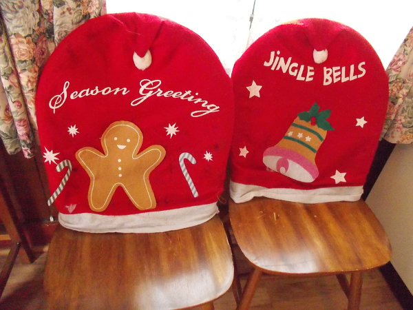 Season Greeting and Jingle Bells seat covers at the House of England.