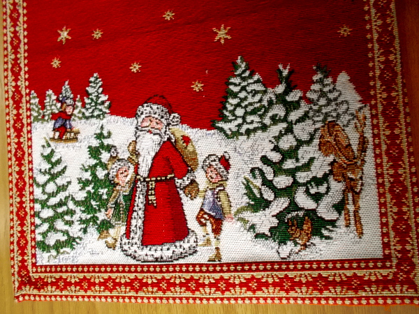 Father Christmas and children in a winter wonderland. Happy needlework at the House of Germany.