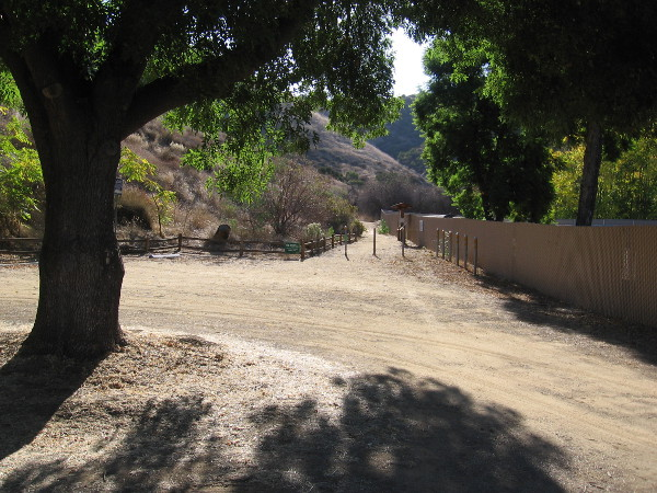 Looking toward the trailhead of the historic Helix Flume Trail.