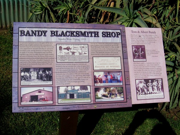 The 1947 Bandy Blacksmith Shop was reconstructed in Grape Day Park in 1993. The building is used today for education and blacksmithing demonstrations.