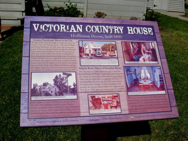 The Victorian Country House is an 1890 Queen Anne style farmhouse that was moved to this location by the Escondido Historical Society.