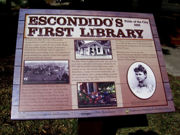 Escondido's First Library opened in 1895. In 1971 the Escondido Historical Society saved it from demolition and moved it to Grape Day Park.