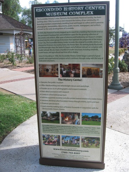 Sign details the mission and work of the Escondido History Center, formerly the Escondido Historical Society, which was founded in 1956.
