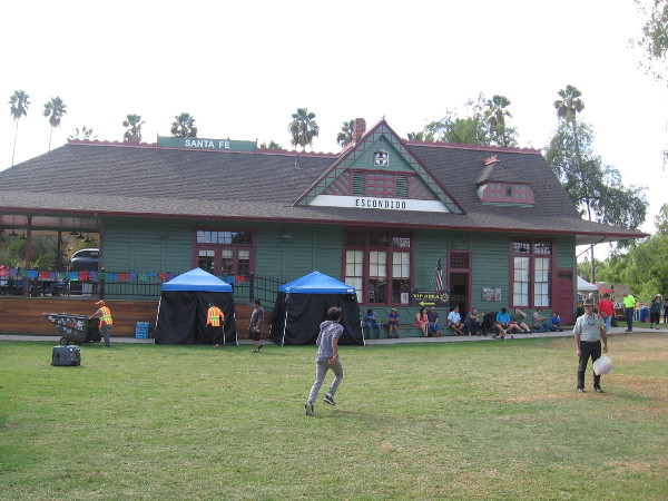 The handsome old Santa Fe Depot was moved to Grape Day Park in 1984. It houses the main museum of the Escondido History Center.