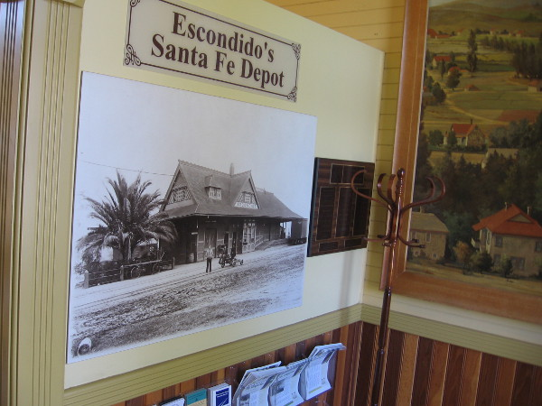 A vintage photograph on one wall shows Escondido's Santa Fe Depot.