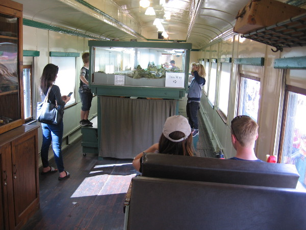 Visitors to the old railroad car hang out and enjoy another facet of Escondido's fascinating history!
