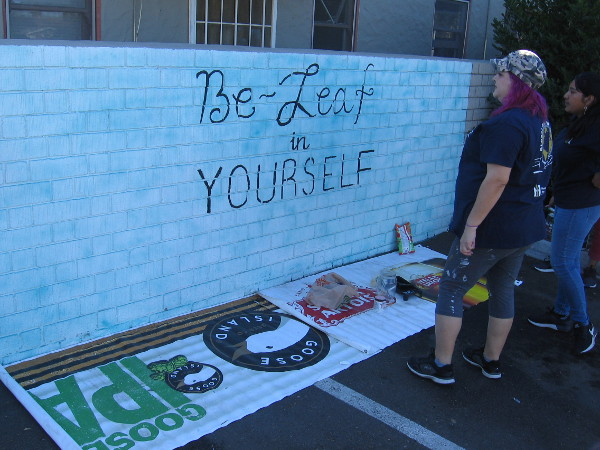 Be-Leaf in YOURSELF. A new mural is painted in City Heights by talented young artist Nadia Sanchez with help from mentor Melody De Los Cobos.