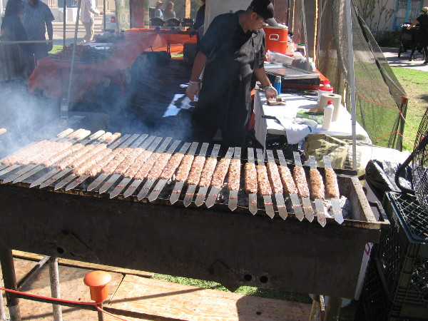 Yummy kababs on the grill during the House of Iran lawn program.
