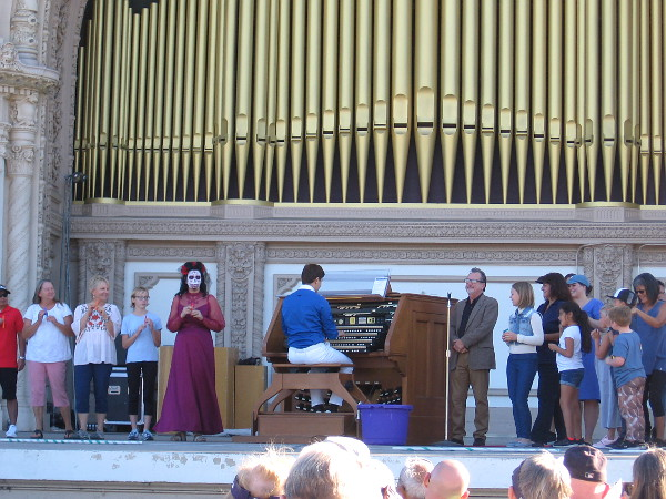 The audience participated with the Spreckels Organ as a fun rendition of the Addams Family theme song was produced with odd instruments!