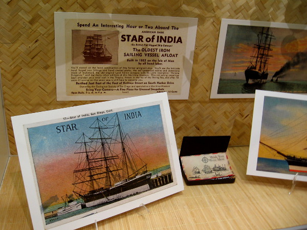 Various postcards promote a visit to Star of India, the oldest iron sailing vessel afloat.