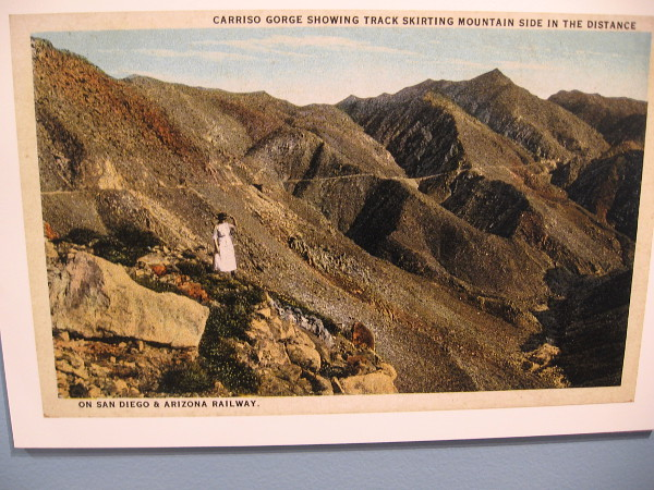 Carriso Gorge showing track skirting mountain side in the distance, on San Diego and Arizona Railway.