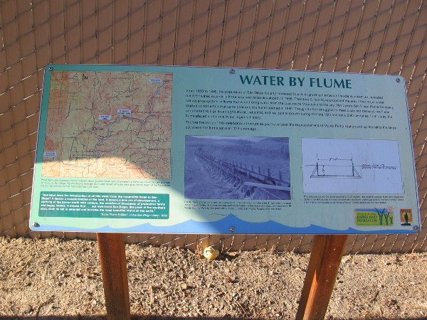 One of several signs along the trail that describe the construction and history of the famous water flume.