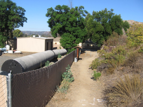 As I started up the trail, I looked back. The Helix Water District has a nearby lot with modern pipes and equipment.