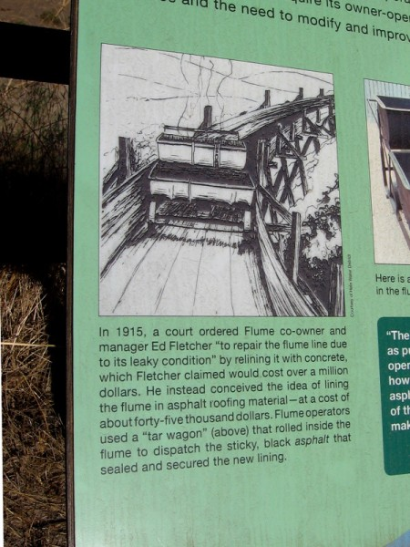 In 1915, a court ordered Ed Fletcher to repair the leaky flume. He lined it cheaply with asphalt roofing material using a rolling tar wagon.