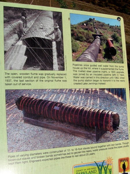 The open, wooden flume was eventually replaced with covered conduit and pipe. In 1962, the pump station began to send water to the newly created Lake Jennings.