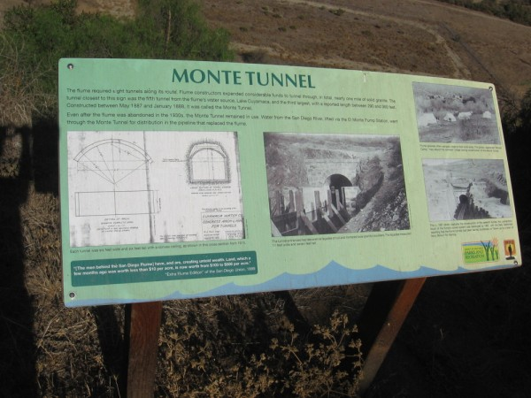 The flume needed eight tunnels along its slowly descending route. The Monte Tunnel was the fifth tunnel from the flume's water source, Lake Cuyamaca.