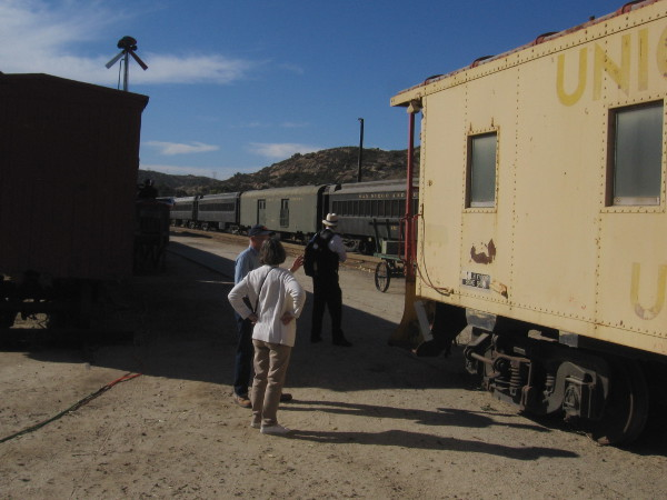 Checking out history at the Pacific Southwest Railway Museum, with its extensive collection of railroad rolling stock.