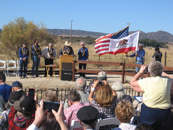 Native Sons of the Golden West dedicate a plaque celebrating the 100th anniversary of the San Diego and Arizona Railway's completion.