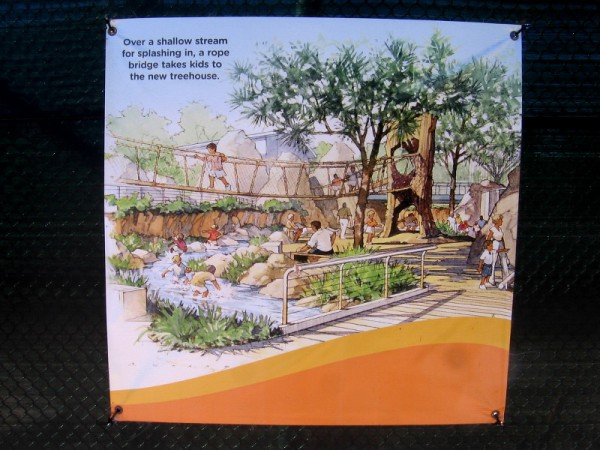 There will be a shallow stream for kids to play in and a rope bridge to a fun treehouse.
