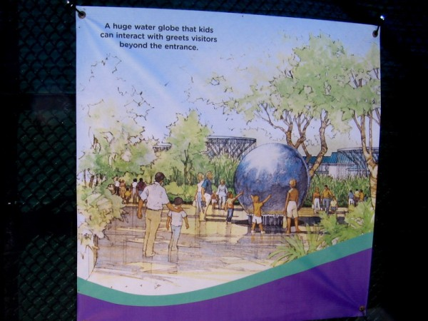 There will be some sort of big water globe near the new Children's Zoo's entrance. (Will there be fish in it?)