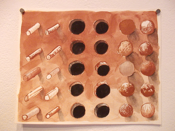 "Study for ""Study of Rods, Holes, and Balls"", Joshua Miller, 2016."