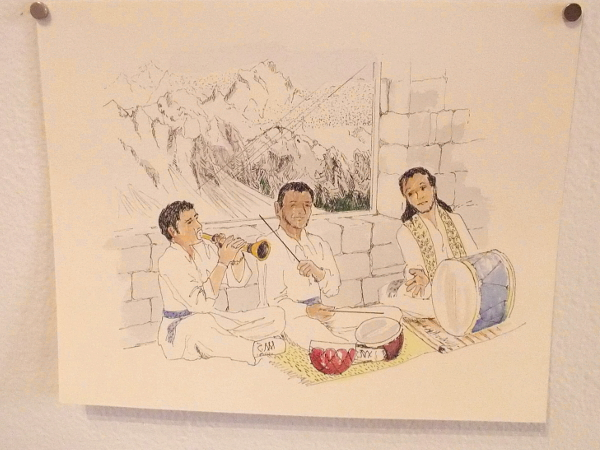 Restaurant Musicians, Hunza Valley Pakistan, Eloise Duff, 2016. Watercolor and ink on paper.