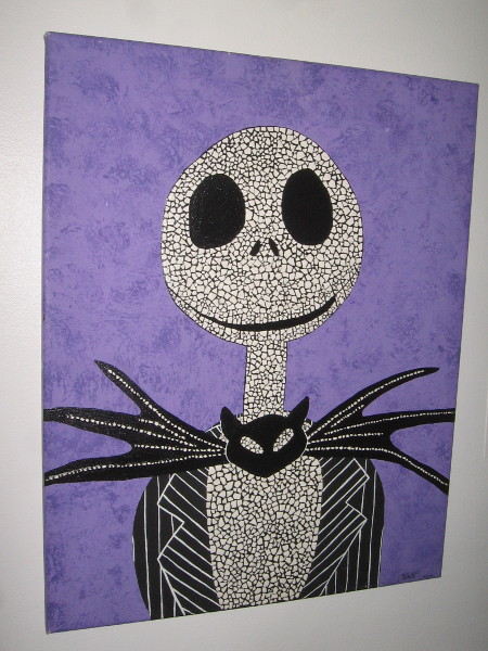 Eggshell Jack Skellington, by artist Melody De Los Cobos. Inspired by the film The Nightmare Before Christmas.