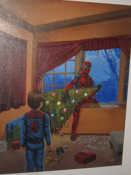 How Deadpool Stole Christmas, by artist Marc Vuletich. Acrylic paint on canvas. Deadpool enters Peter Parker's home in an homage to How the Grinch Stole Christmas.