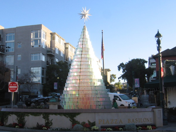 A shining crystalline Christmas tree at Piazza Basilone in Little Italy.