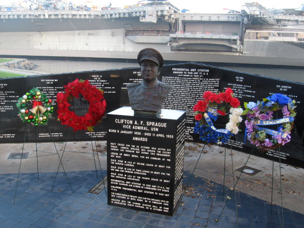 Four wreaths of remembrance have been placed at the Battle of Leyte Gulf Memorial near the USS Midway Museum.