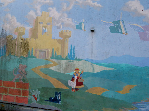 Favorite fairy tale and storybook characters come to life in a faded mural by the Linda Vista Library.