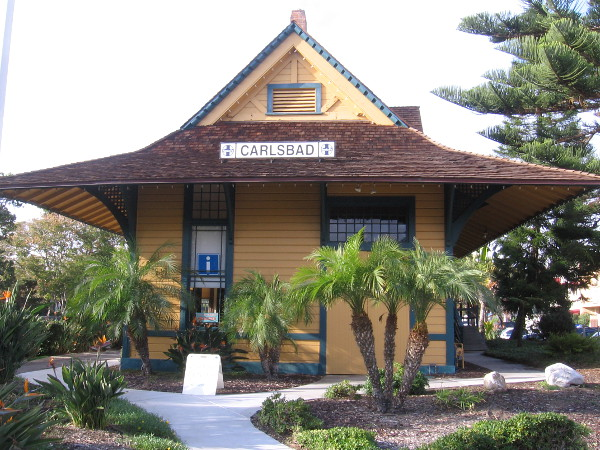 Photo of the beautiful old Santa Fe Depot in Carlsbad Village. Built in 1887, it is one of the few pre-1900 stations left in the country.