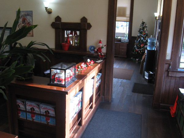 A look inside Carlsbad's historic Santa Fe Depot, now a tourist information center. (Photo taken shortly before Christmas.)