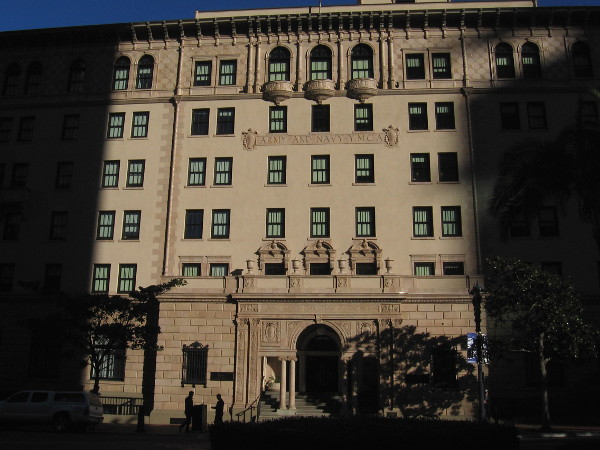 Morning light and shadow on the historic Army-Navy YMCA building, now home to The Guild Hotel.