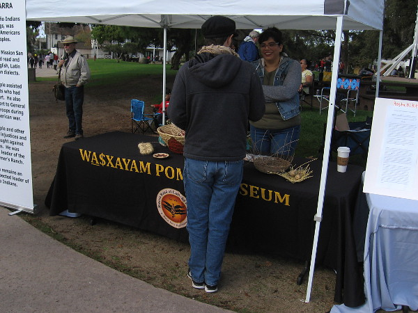 A display of Kumeyaay artifacts at the event, by the Wa$xayam Pomki Museum on the Rincon Reservation.