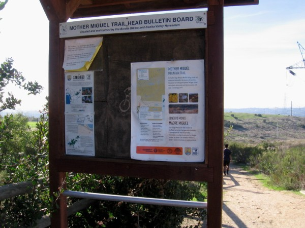 Mother Miguel Trail Head Bulletin Board contains useful information and a map for hikers.