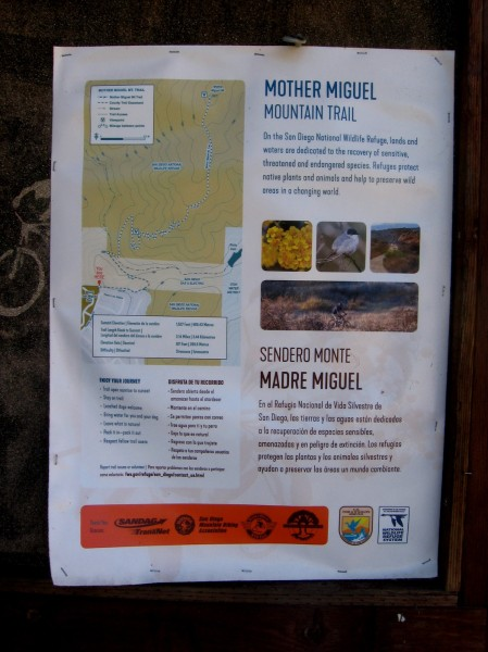 The Mother Miguel Mountain Trail is inside the San Diego National Wildlife Refuge. Stay on the trails to protect the habitat of many animal and plants species, some of which are endangered.