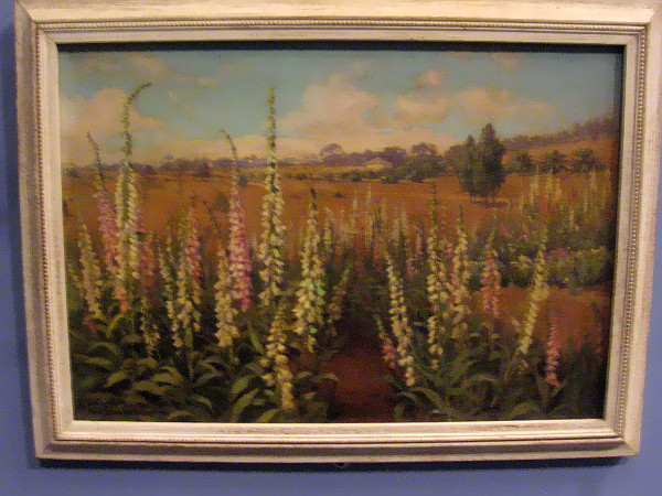 Edith White, Landscape, 1917. Oil on canvas. Painting of foxglove from Lomaland's International Garden.