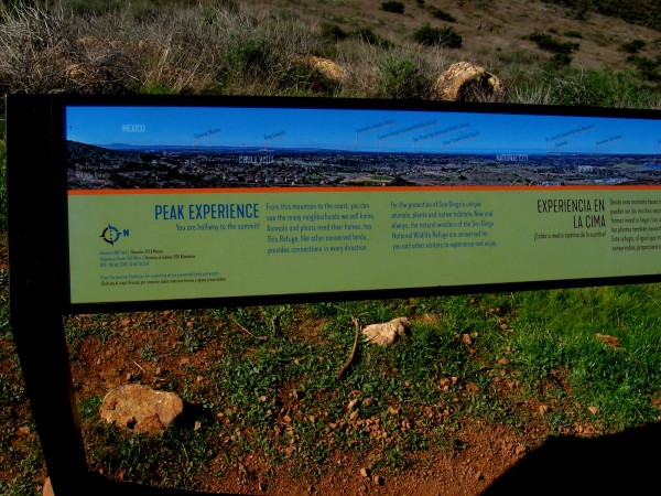 Left part of long sign, showing peaks and features from Mexico northward.