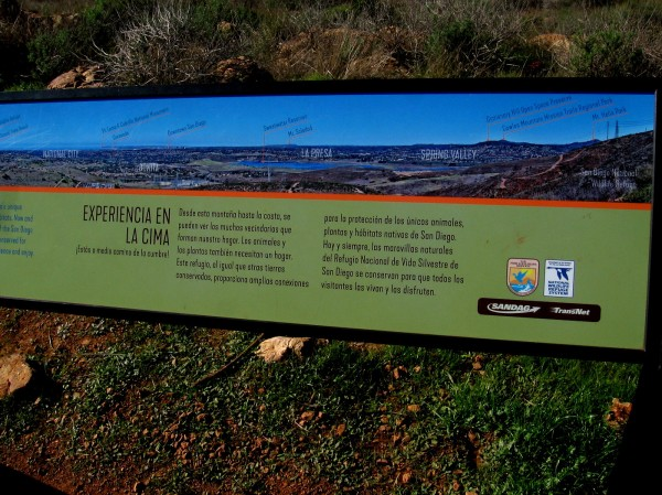 Right part of sign shows sights to the northwest, as far away as Mount Soledad in La Jolla.