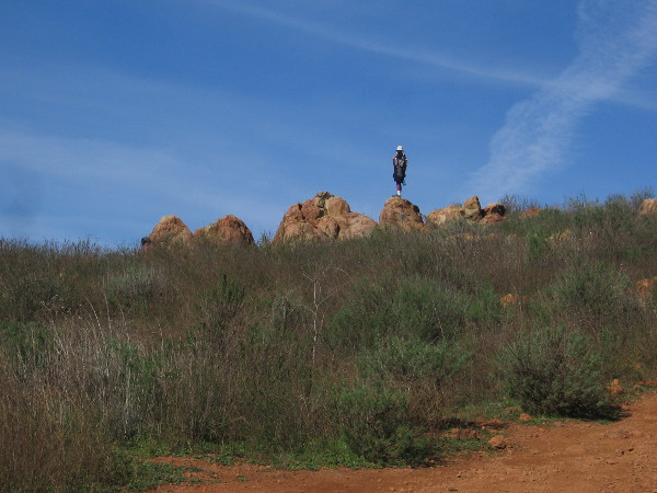 Someone stands on an outcropping just below the summit of Mother Miguel Mountain.