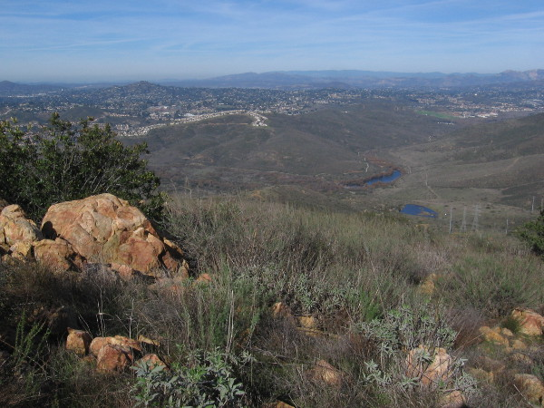 The view to the northeast includes part of the Cuyamaca Mountains.