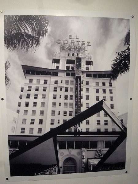 El Cortez Hotel, 1957, Digital reproduction of photograph by Julius Shulman. The 1956 building remodel added the world's first outdoor glass elevator--the Starlite Roof Express.