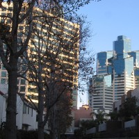 Views of bright buildings from Pantoja Park.
