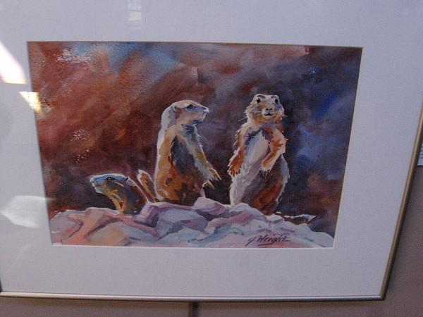Prairie Dogs on Alert, watercolor by artist Jami Wright.