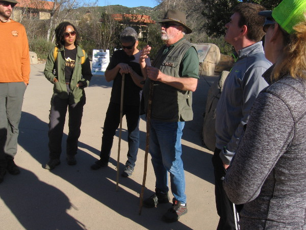 One of two experienced animal trackers addresses our group near the Mission Trails Visitor Center before we begin our adventure.