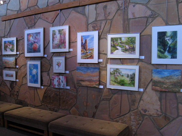 Colorful artwork depicting nature's beauty on display in the art gallery at the Mission Trails Regional Park Visitor Center.